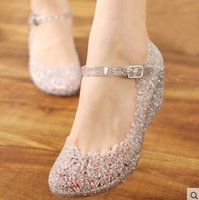 Wholesale Pink Kitten Heels - Wholesale Summer girls wedge jelly shoes beach comfortable Women sandals Wedges Sandals High Heels Glass Slipper Jelly Shoe Big Size