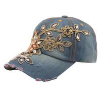 jeans de estilo de moda dama al por mayor-Al por mayor- Nueva moda con estilo Vogue mujeres Diamond Flower Casual Gorra de béisbol Preppy Style Lady Jeans Sombreros ajustable Snapback Hat No11