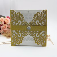 Wholesale elegant invitation paper - 2018 Free shipping By UPS European Elegant Paper Laser Cut Gold Wedding Invitations Cards Customizable Invitation with Blank Inner Sheet