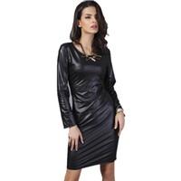 robe noire en simili cuir à manches longues achat en gros de-Robe D'été 2016 Nouvelle Arrivée Femme De Mode Faux Cuir Dress À Manches Longues Au-dessus du Genou Mini Sexy Noir Bodycon Midi Femmes Robes
