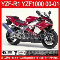 kit de carenado 98 yzf r1 al por mayor-Carrocería para YAMAHA YZF1000 YZF 1000 YZFR1 00 01 98 99 74NO31 Rojo de fábrica R 1 YZF-R1000 Carrocería YZF-R1 YZF R1 2000 2001 1998 1999 Kit de carenado
