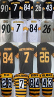 Wholesale Mens Shorts Color - 2017 mens Stitched 84 Antonio Brown Jerseys Men 7 Ben Roethlisberger 43 Troy Polamalu Le'Veon Bell 90 T.J. Watt elite color rush Jersey