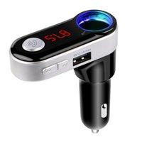 Wholesale usb sockets - Wholesale-Bluetooth Handsfree Calling FM Transmitter Dual USB Car charger Support TF Card Music Player with cigarette socket For iphone