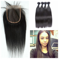 Wholesale Russian Parts - Brazilian Hair Weaves and Closures Free Part Natural Black Virgin Straight Human Hair Can Be Dyed G-EASY
