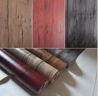 Wholesale Buy Rolls - Wholesale-Buy 5 GET 1 3d wood wallpaper design PVC retro wall paper for living room