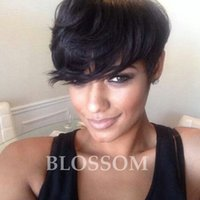 Wholesale Short Chic Wigs - Free Shipping Full Lace Rihanna Chic Cut Short Human Wigs Machine Made Glueless Rihanna Chic Cut Short Wigs for Black Women