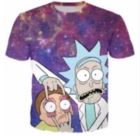 Wholesale Galaxy Print T Shirts - New Fashion Clothing Cartoon Printed Women Shirt Rick and Morty T-Shirt Space Ouftits Unisex Galaxy HipSter Tees