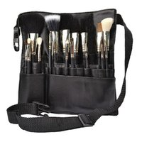 Wholesale Cosmetics Uk - Wholesale- UK Professional Cosmetic Makeup Brush Apron Bag Artist Belt Strap Holder Black