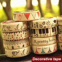 Wholesale Cotton Masking Tape - Wholesale- 2016 6 pcs Lot Cotton cloth tapes Linen Music Love Tower masking decorative adhesive tape scrapbooking tools stickers Stationer