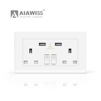 Wholesale Socket 13a - AIAWISS 13A 250V Double USB Port Wall Socket Power Charger Adapter Outlet Panel UK Plug GM,White