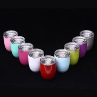 Wholesale Double Layer Coat - Egg Cup Stemless Cups 9oz 9 Colors Double Layer Mugs Powder Coated Stainless Steel Beer Wine Glasses Vacuum Insulated Cups NO LOGO 3002050