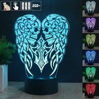 Wholesale 2017 New Remote Control Angel Wings Skull Cross D LED Night Light Touch Color Change Table Lamp Acrylic Night Light Home Decoration