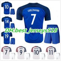 Wholesale Army Cup - best quality 2016 Euro Cup Soccer Jersey kits France camisetas de futbol 2017 Ribery Zidane Benzema Griezmann Pogba Henry Football Shirts
