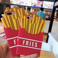 Wholesale French Fries Phone - Luxury Fast Food French Fries 3D Case Cover For iphone 8 6 6S 7 Plus soft Silicone Back Cover Cell Phone Cases Opp Bag