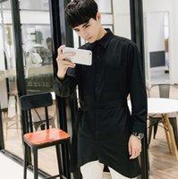 Wholesale Extender Sleeves - Wholesale- Harajuku Mens Shirts Fashion 2017 Spring Belted Men Dress Shirt Slim Fit Luxury Brand Extender Designer Male Shirts Long Sleeve