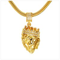 Wholesale Mens Lion Pendant - Mens' Hip Hop Jewelry Iced Out Gold Plated Fashion Bling Bling Lion Head Pendant Men Necklace Gold Filled For Gift Present