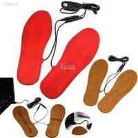elektrikli ısıtma ayakkabıları toptan satış-Toptan-1 Çift USB Elektrik Powered Isıtmalı Tabanlık Ayakkabı Çizme Ayaklar Sıcak Tutmak Için Yeni