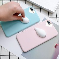Wholesale Mobile Phone Gel Case Cover - Squishy Mobile Phone Case 3D Cute Sleep Cat Phone Cover Case Soft Silicone Gel Shell For iphone8 8plus 7 7plus 6 plus 5