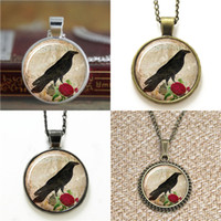 Wholesale Rose Cufflinks - 10pcs Raven and Rose Pendant Bird Jewelry Raven 17 Glass Photo Cabochon Necklace keyring bookmark cufflink earring bracelet