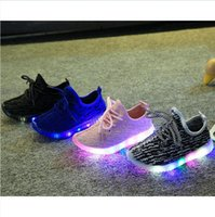 Wholesale White Baby Canvas Shoes - 2017 spring Autumn Children Light Shoes Sport Shoes Baby Boys Girls Led Luminous Shoe Kids Sneakers Breathable Running Shoes