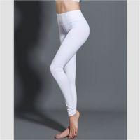 Wholesale Yoga Pants Free Shipping - Free Shipping Wholesale Lulu Crop Yoga Gym Elastic Pants Women Sport Fitness Leggings Tights Sportswear Cropped Trousers