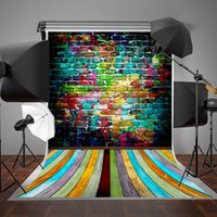 Wholesale SUSU x7ft x220cm Wrinkles Free Brick Photography Backdrops Colorful Wood Floor Background Seamless for Newborn Birthday Backdrop