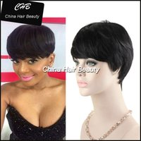 Wholesale Cheap Wigs Bangs - Short cut none lace human bob wigs best cheap wig with baby hair glueless wigs with bangs for black women