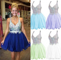 Wholesale V Top Dresses - 2017 Short Cocktail Party Dresses Beaded Crystals Rhinestones Topped Chiffon Homecoming Dresses Mini Celebrity Prom Dresses