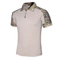 ingrosso maglietta manica corta dell'esercito-Uomo Multicam T-Shirt Army Camouflage Combattimento T Shirt T Shirt Militare Uomo Manica Corta T-Shirt Hunt T-Shirt Spedizione Veloce