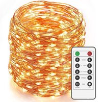 16ft 66led 164Ft 500 LED Dimmable LED String Lights, Long Outdoor étanche Cooper Wire String Lights Avec télécommande, Warm White Intérieur de lumière