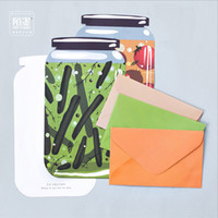 Wholesale Stationery Letter Paper Set - Wholesale- 3 envelope + 3 writing paper + 3 Stickers  set Canned vegetables envelope letter paper envelopes stationery school supplies