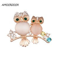 Wholesale Dual Owl - Wholesale- AMOURJOUX Pretty Dual Standing Owl Brooches Pin For Women With Clear Rhinestone Gold Plated Alloy Pins Brooch Fashion Broche
