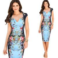Wholesale Pinup Floral Dress - Womens Vintage Elegant Rose Flower Floral Printed Pinup Casual Party Mother of Bride Pencil Sheath Bodycon Dress 4267