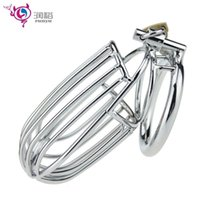 Wholesale New Type Chastity - Sex shop new railing type design male chastity belt device big sex cock cage cock ring sex toys bdsm bondage harness adult games for men.
