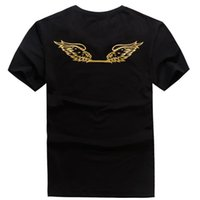 Wholesale Slimming Bamboo High Quality - High Quality USA Red Black White Mens Robin True Jeans Crew T-Shirt With Wings Real American Jeans Mtorcycle Club Slim Short Sleeve Fit To