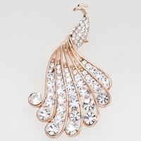 Wholesale Cheap Peacock Wedding Jewelry - China handmade Noble gold-plated peacock jewelry pin cheap rhinestone brooches wholesale for wedding dresses