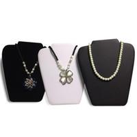 display weißes kunstleder großhandel-Großhandel 3pcs Halskette Display-Ständer Medium 8