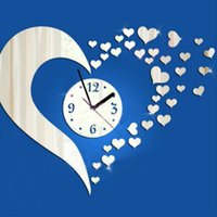 Wholesale Love Nature Wall - Acrylic 3D mirror wall stickers Love wall clock Creative Home Decor DIY Removable Decoration Sticker 2017 40pcs set wholesale Free delivery