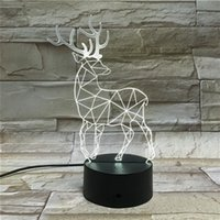 ingrosso le luci di natale del usb migliori-Commercio all'ingrosso 3D Chrismas Elk Lights Night Light USB LED Teach ON-Off Decorazione natalizia Miglior regalo DHL Spedizione gratuita (7)