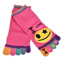 Wholesale Ship Kids Socks - Wholesale-SIF Feitong Cut!1Pair Fashion Kids Five Fingers Cartoon I LOVE Smile Toe Ankle Socks Breathable Calcetines Ankle Free Shipping