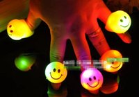 UK led ring smiley - Wholesale-50pcs lot Flashing smiley ring led finger lights ring light light-up toy props party supplies halloween decoration