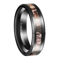 ingrosso anello nuziale nero-Queenwish 6mm / 8mm Black Tungsten Ring Camouflage Caccia Donna Mens Black Tungsten Ring Camo Lucido Wedding Band Gioielli antichi