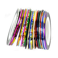 fashion tape roll 2018 - Wholesale- Fashion 30Pcs Mixed Colors Rolls Striping Tape Line Nail Art Tips Decoration Sticker