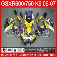 Wholesale 1992 Gsxr - 8Gifts 23Colors Body For SUZUKI GSX-R750 GSXR600 GSXR750 06 07 gloss Yellow 10HM22 GSX R600 R750 K6 GSX-R600 GSXR 600 750 2006 2007 Fairing