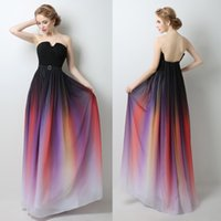Wholesale strapless gradient prom dress resale online - Elie Saab Prom Dresses Evening Gowns Real Pictures A line Formal Celebrity Party Dresses Gradient Color Chiffon Pleated Ombre Plus Size