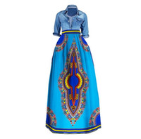 Wholesale Embroidery For African Clothes - African Bazin Riche Print Long Skirts Plus Size Dashiki African Traditional Clothes for Women Ball Grown Skirt