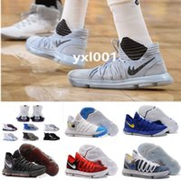 Wholesale Mens Stretch - 2017 FMVP Correct Version Kevin KD X 10 Elite 8 Playoffs Mens Basketball Shoes Warriors Home Wolf Durant 10s Training Sport Sneakers US 7-12