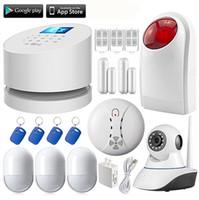 sirene für hausalarm großhandel-LS111-W2 WiFi GSM PSTN RFID hause einbrecher Alarmanlage + Wireless outdoor strobe sirene + HD wifi ip kamera + rauchmelder