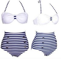 Wholesale Stripes Swimsuit Ladies - Ladies Swimsuit New Summer Navy Wind Blue And White Stripes High Waist Bikini Swimsuit Female Beach Suit Retro Sea Suit