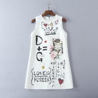 elbise pist diz toptan satış-Ücretsiz Kargo 2017 Pist Elbise Flora Baskı Yaz Ekip Boyun Üstü Diz Yelek Kolsuz İmparatorluğu Beyaz Sequins Hayvan Baskı Jakarlı Pamuk 8